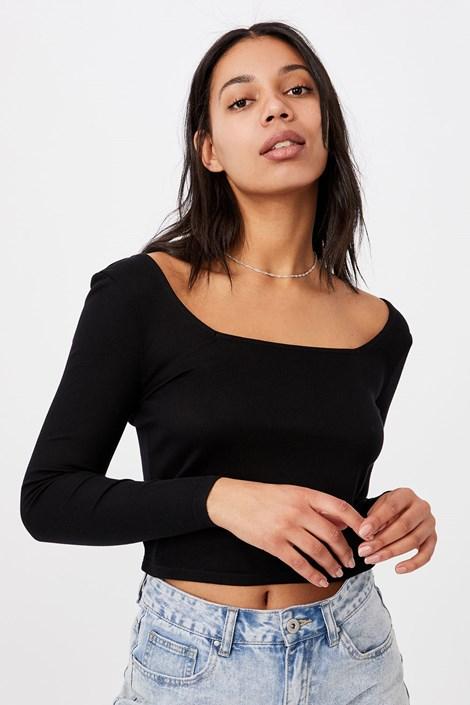 Dámské basic triko s dlouhým rukávem Serena černá