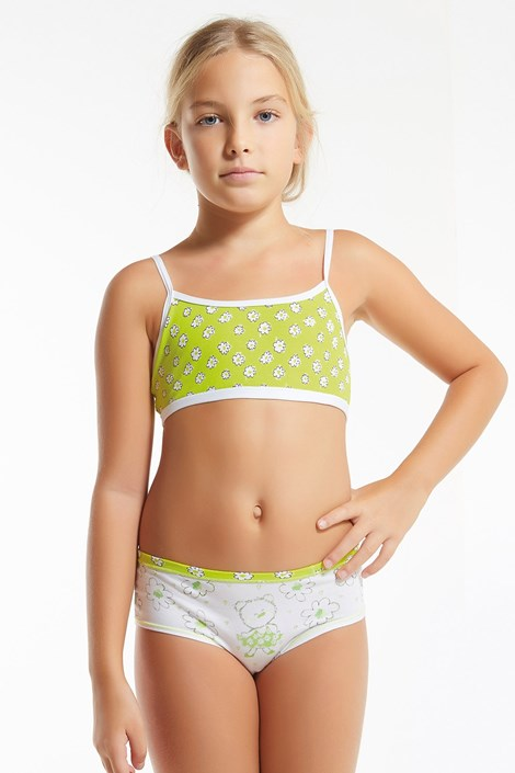 Dívčí komplet kalhotek a topu Flower Green