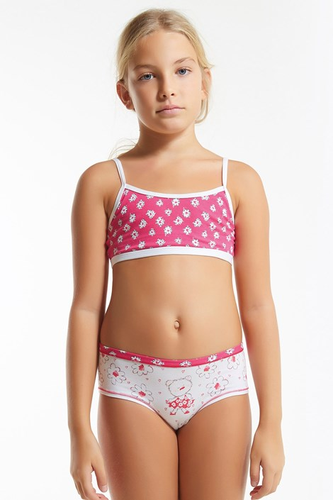 Dívčí komplet kalhotek a topu Flower Pink