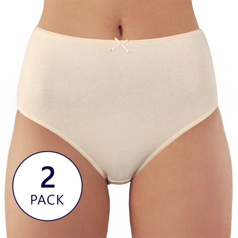 Lama 2 pack bavlněných kalhotek Moni béžovobílá XXXL