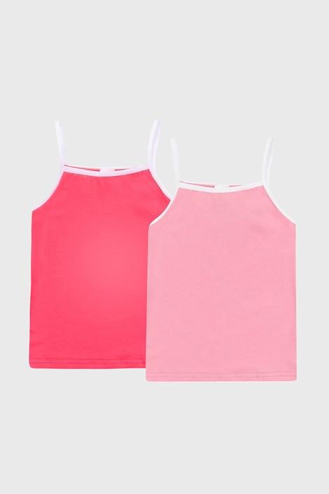 2 PACK dívčích růžových basic tílek