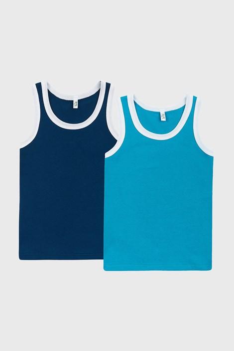 2 PACK chlapeckých modrých tílek