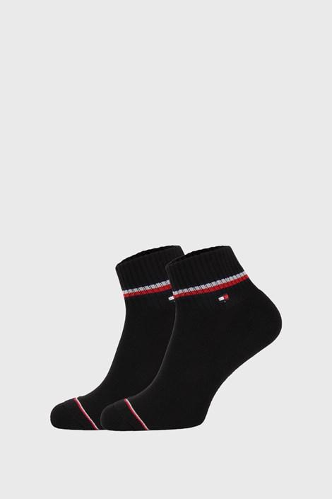 2 PACK černých kotníkových ponožek Tommy Hilfiger Iconic