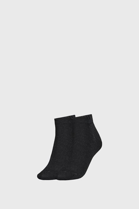 2 PACK černých dámských ponožek Tommy Hilfiger Lurex