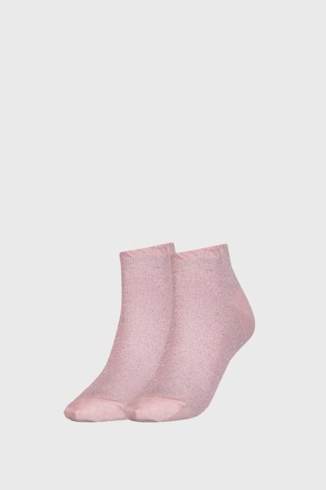 2 PACK růžových dámských ponožek Tommy Hilfiger Lurex