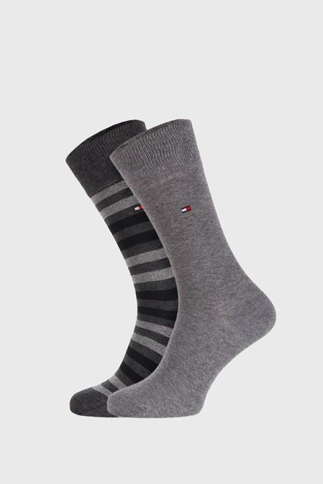 2 PACK šedých ponožek Tommy Hilfiger Duo stripe