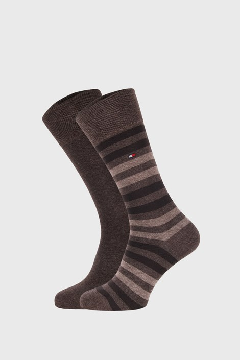 2 PACK béžovohnědých ponožek Tommy Hilfiger Duo Stripe