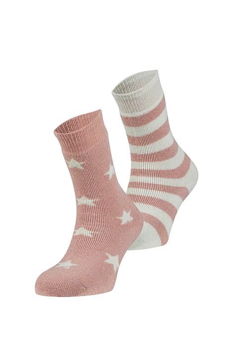 Ysabel Mora 2 pack hřejivých ponožek Estrella růžovobílá uni