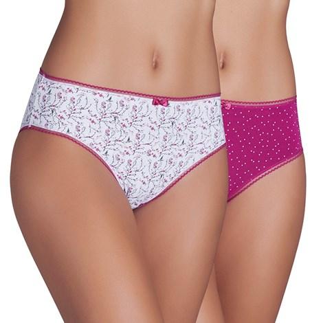 Ysabel Mora 2 pack klasidkých vyšších kalhotek Bella růžovobílá S