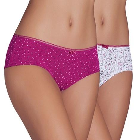 Ysabel Mora 2 pack francouzských kalhotek Bella růžovobílá M