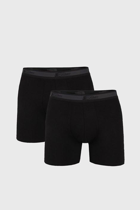 2 PACK černých boxerek s delší nohavičkou UOMO