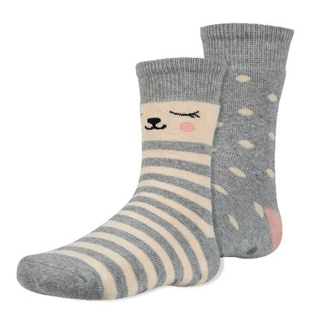 Ysabel Mora 2 pack dětských hřejivých ponožek Dani šedobéžová 38-40