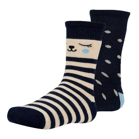 Ysabel Mora 2 pack dětských hřejivých ponožek Dani modrobéžová 26-28