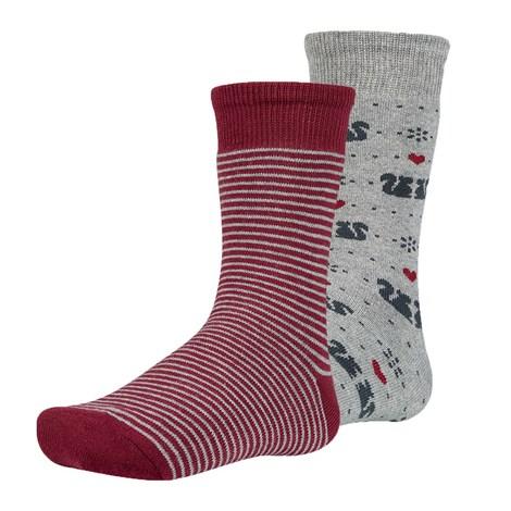 Ysabel Mora 2 pack dětských hřejivých ponožek Risl šedočervená 38-40