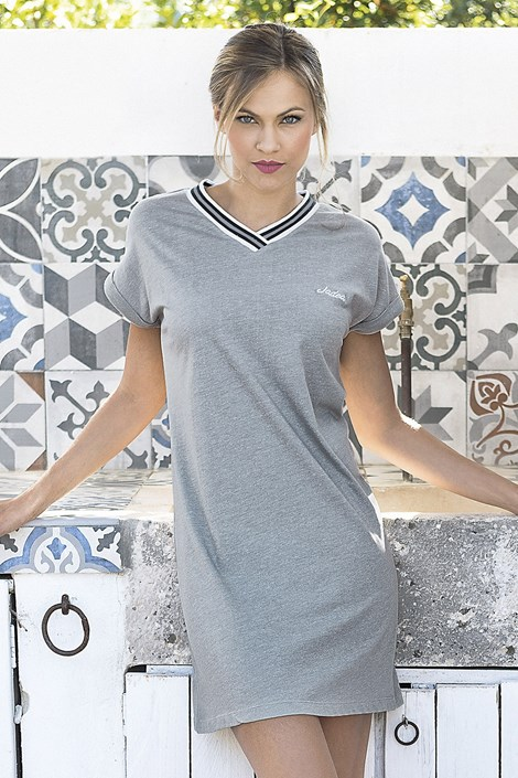 Jadea Dámské letní šaty Corfu šedé šedá M