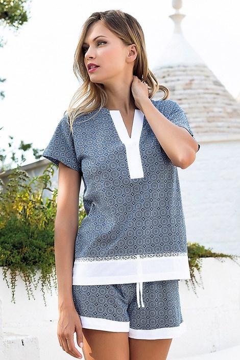 Jadea Dámské pyžamo Creta krátké modrá L