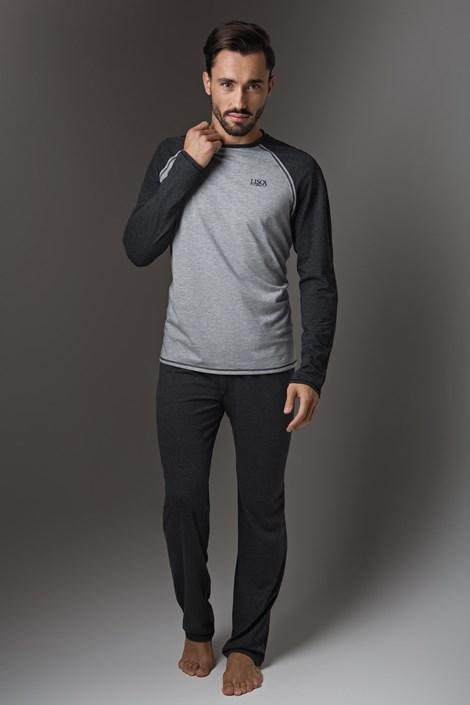 LISCA Pánské pyžamo LISCA Thor Dark Grey tmavěšedá XL