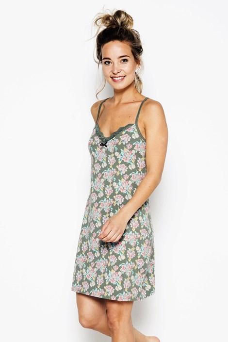 Van Gennip Textiles B.V. Dámská noční košilka Flowers zelená XXL