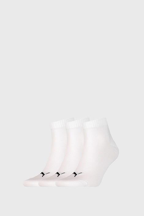 3 PACK bílých ponožek Puma Quarter Plain