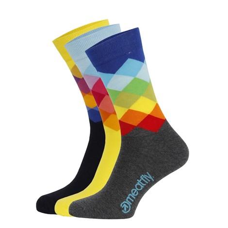 Meatfly 3 PACK barevných ponožek Meatfly Pixel vícebarevná S/M