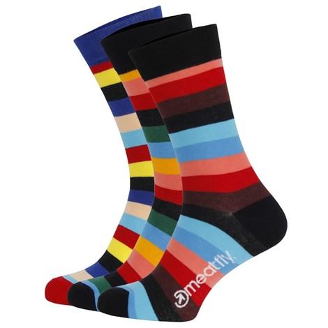 Meatfly 3 PACK barevných ponožek Meatfly Regular Stripe vícebarevná L/XL