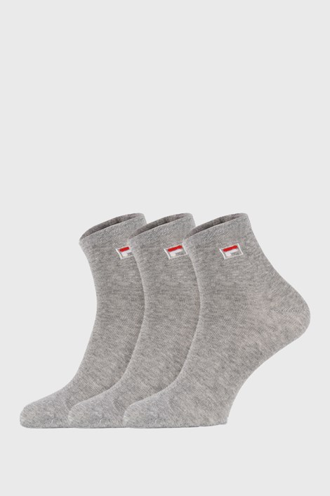 3 PACK šedých kotníkových ponožek FILA