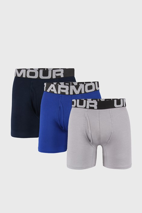 3 PACK modrošedých boxerek Under Armour Cotton