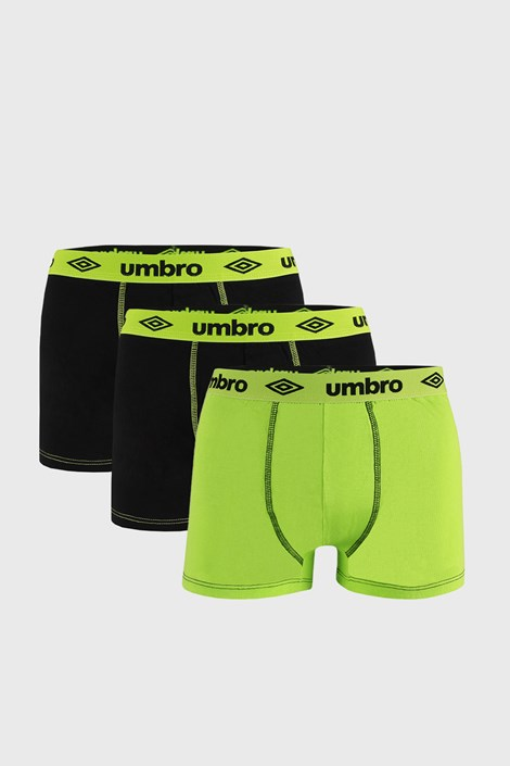 3 PACK černozelených boxerek Umbro BIO
