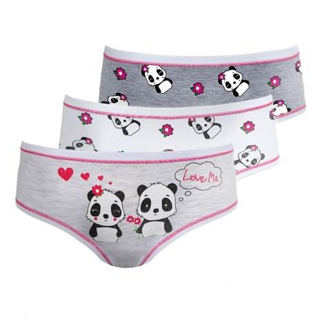 3 PACK dívčích kalhotek Pandas