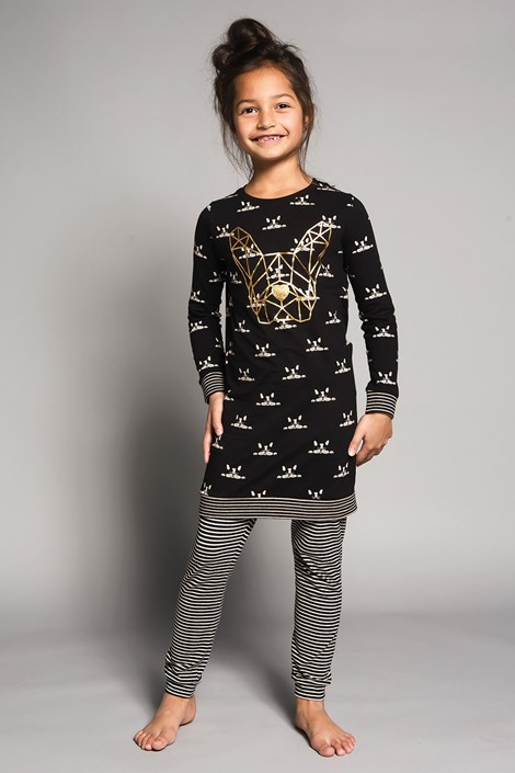 Charlie Choe Dívčí pyžamo Bulldogs černá 98/104