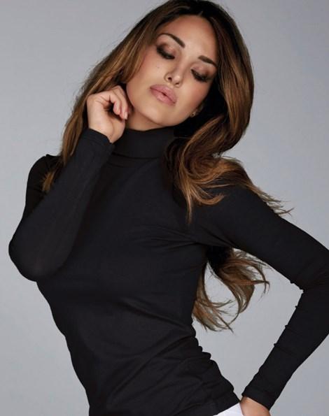 Jadea Dámské bavlněné triko s rolákem Caryn černá L/XL