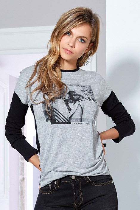 Jadea Dámské tričko Florinda šedé černošedá L/XL