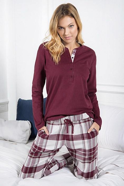 Jadea Dámské bavlněné pyžamo Zaffiro bordo S