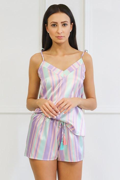 Miss Rosy Saténové pyžamo Blanch zelenofialová XXL