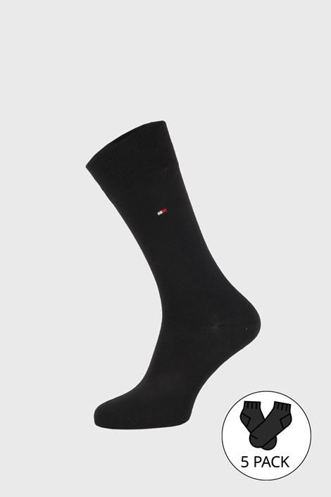 5 PACK černých ponožek Tommy Hilfiger