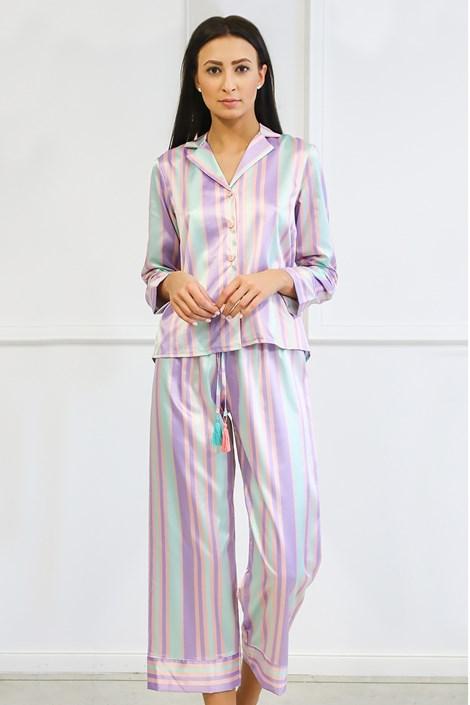 Miss Rosy Saténové pyžamo Blanch dlouhé zelenofialová XXL