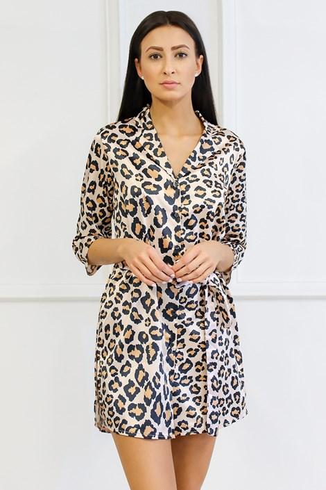 Miss Rosy Saténová košilka Animal hnědá XXL