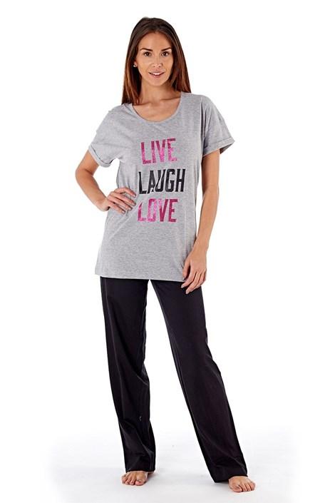 Selena Secrets Dámské bavlněné pyžamo Laugh Grey šedá M/L