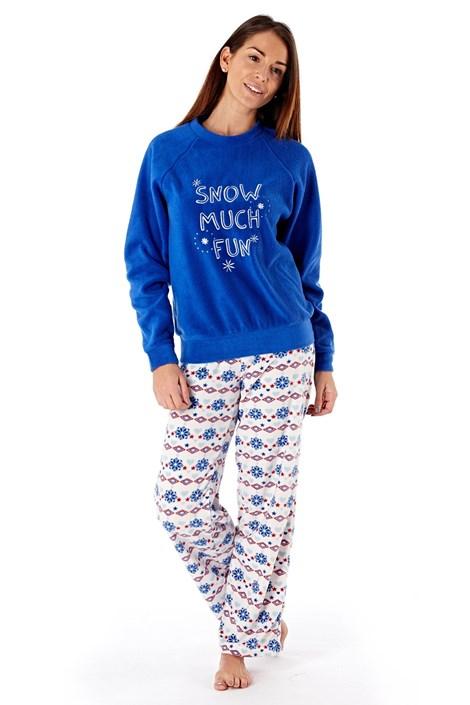 Dámské fleecové pyžamo Show much fun Blue