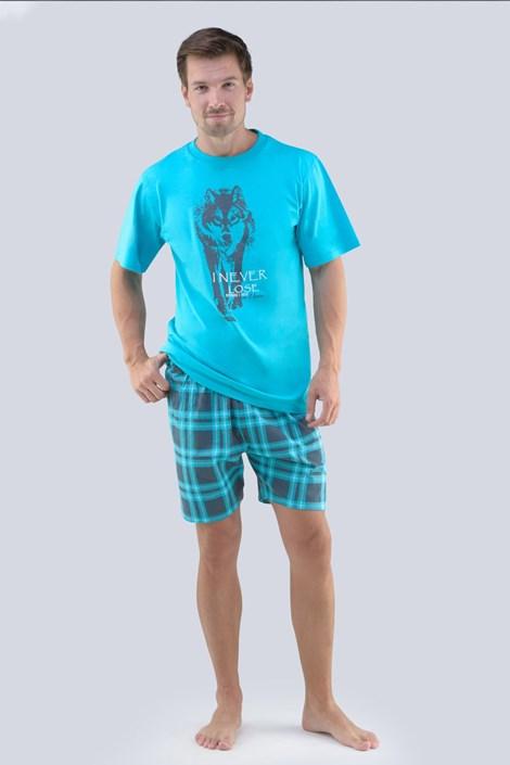 GINO Pánské pyžamo GINO Ondřej tyrkysová L