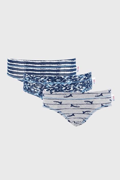 Cotonella 3 PACK chlapeckých slipů Wave modrá 12