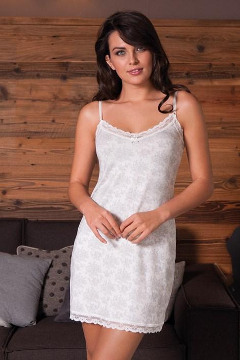 COTONELLA Dámská noční košilka Rose 01 šedobílá XL
