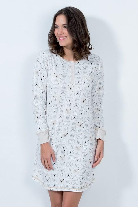 CTM Style Dámská noční košile Arctic ecru ecru/bez L