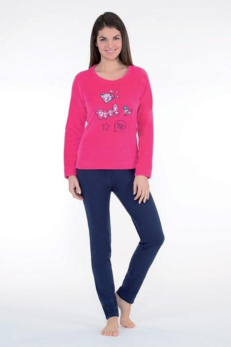CTM Style Dámské hřejivé pyžamo Badge růžové modrá/růžová XL