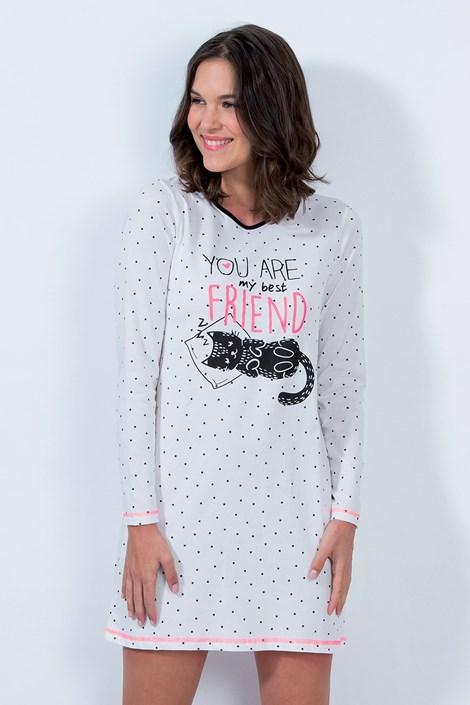 CTM Style Dámská noční košile Cat friend ecru M