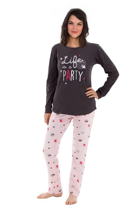 CTM Style Dámské pyžamo Party antracit XL