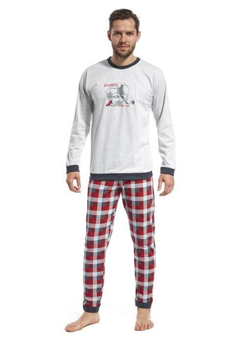 Cornette Pánské pyžamo CORNETTE Football all my life šedočervená XXL
