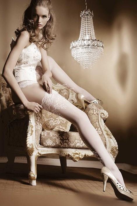 Ballerina Luxusní samodržící punčochy Amous 003 bílá S/M