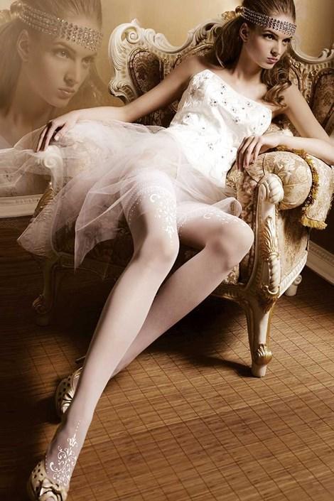 Ballerina Luxusní samodržící punčochy Amous 007 bílá L/XL