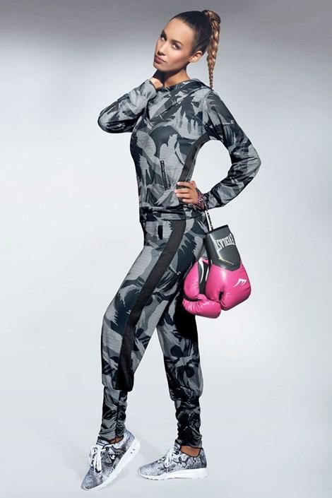 Basbleu Dámské sportovní tepláky Athena šedočerná XL